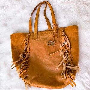LUCKY BRAND Large Leather Fringe Tote